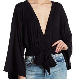 FREE PEOPLE - It's A Wrap - Black Top - Size Small